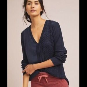 anthropologie Navy Blue Arcana Side Button Sweater